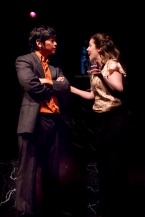 Julia Beers and Moses Yim onstage in the play Yellow Face.