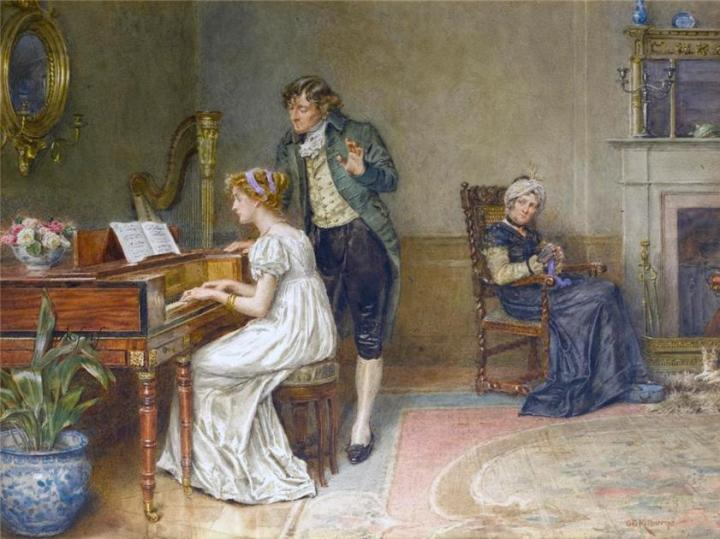 'The Music Lesson' by George Goodwin Kilburne, date unknown