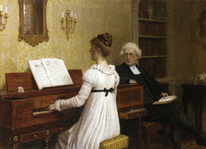 The Piano Lesson by Edmund Blair Leighton, 1896