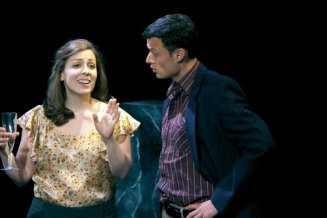 Image of Julia Beers and Lee Osorio onstage in the play Yellow Face.
